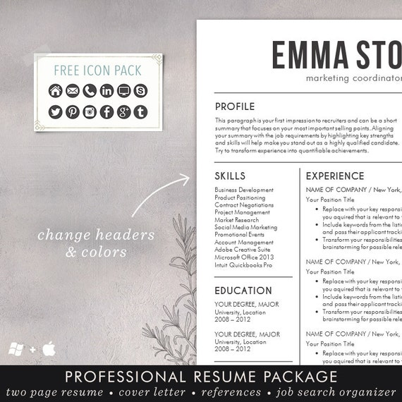 Resume Template - CV Template for Word, Mac Pages, Professional Resume  Design, Free Cover Letter, Creative, Modern, Teacher - The Emma