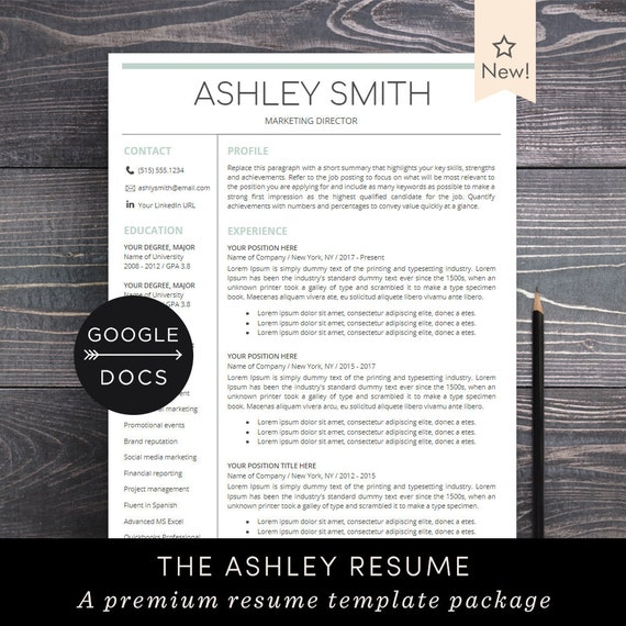 Google Docs Resume Template Professional Resume CV Template | Etsy