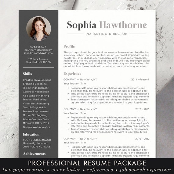 CV Template Design With Photo Word Mac Or PC Professional