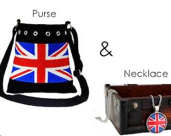 Union Jack Gift Set, Union Jack Purse, Union Jack Necklace, British Flag Handbag, British Flag Pendent, Cross-body or Over Shoulder Bag