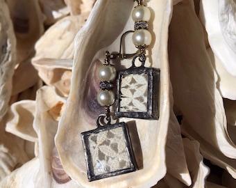 Antique Vintage Pearl Crochet/Lace Earrings