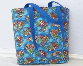 30% OFF SALE Christmas Tote Bag, Teddy Bear Tote, Cotton Tote Bag, Kids Tote, Womens Carryall