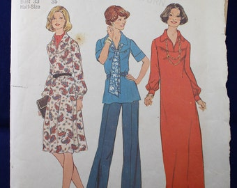 Vintage Dress & Top Sewing Pattern in Size 10.5-12.5 - Simplicity 7181
