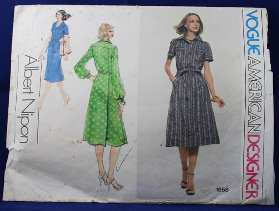 Vogue Designer Sewing Pattern For A Womans Dress In Size Etsy