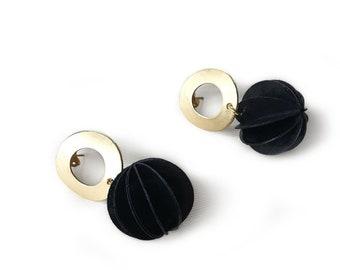Dangle paper earrings, elegant studs, golden dangles with spherical pendant, April birthday