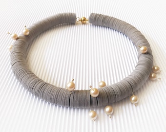 Paper jewelry, paper choker with natural pearls, paper necklace, woman jewelry, statement necklace, gift for wife, for mother, anniversary