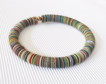 Round choker made with colorful paper, paper jewelry, colorful paper choker, contemporary jewel, birthday gift