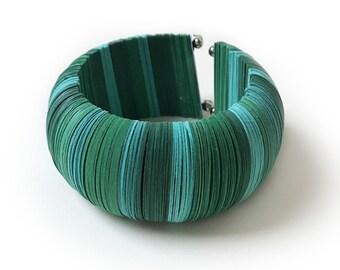 Green bangle bracelet, paper large bracelet, colorful bracelet