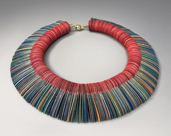 Colorful paper choker, Stunning necklace, Christmas gift, paper jewelry, contemporary necklace, unique and never seen before