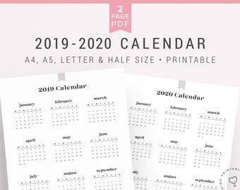 2019 Printable Calendar Etsy