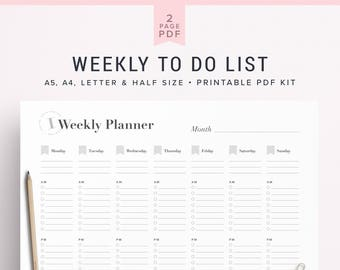 a5 to do list half size to do list a4 to do list letter to etsy