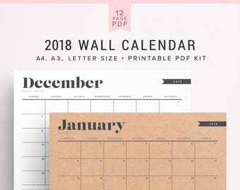 2018 big calendar large wall calendar a3 wall calendar printable monthly printable calendar 2018 calendar planner 2018 printables