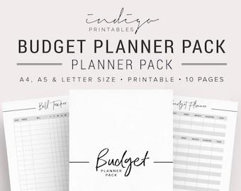 Budget Planner, Finance Planner, Budget Template, Financial Worksheet, Savings Chart, Spending Tracker, Bill Tracker, Debt Planner, Money