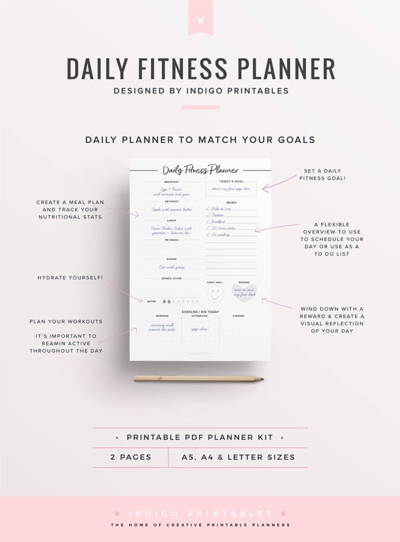 daily fitness planner fitness printable fitness journal etsy