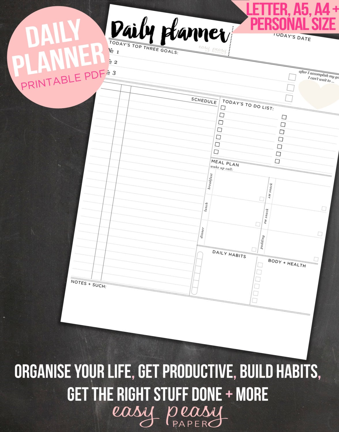 daily planner to do list day organizer a4 daily planner