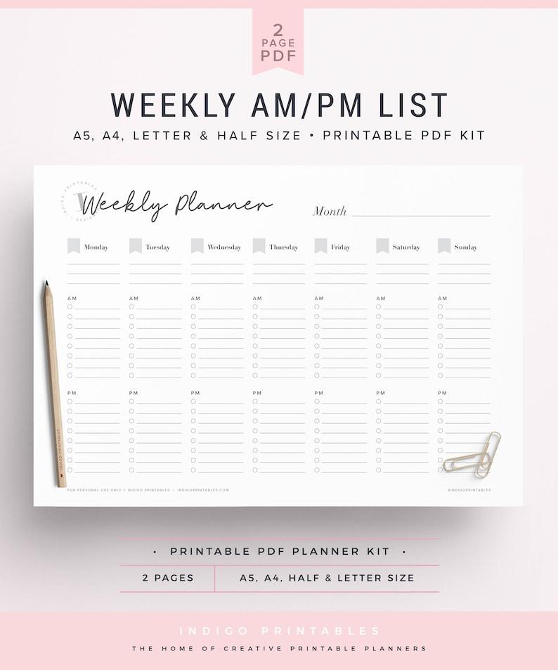 Weekly AM PM List, Undated Planner, Planner Insert A5, A5 Weekly Planner  Printable, Weekly Planner Insert, Schedule Planner, Desk Planner