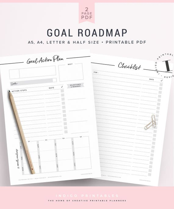 goal planner goal setting worksheet 2018 goals 2018 goal etsy