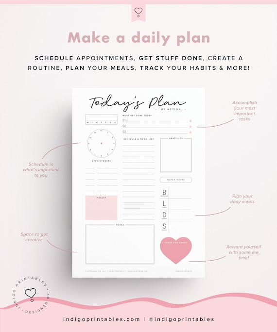 daily planner printable day organizer a4 daily planner etsy
