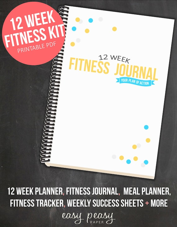 12 week fitness planner printable health and fitness journal etsy