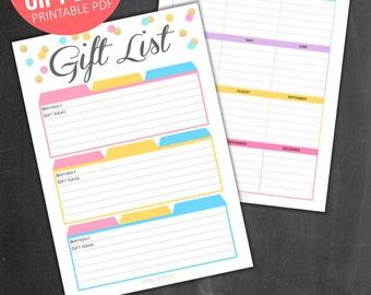 Gift List Tracker + Birthday List Tracker PRINTABLE