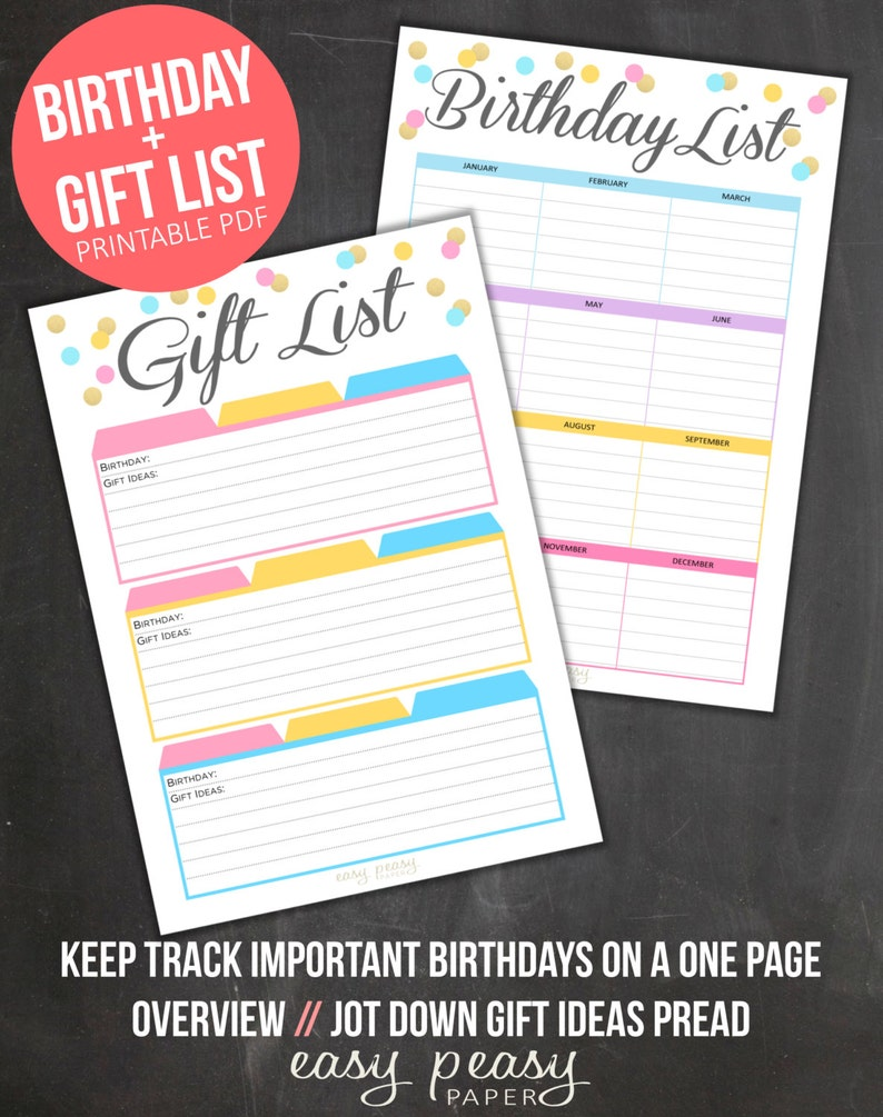 Gift List Tracker Birthday PRINTABLE