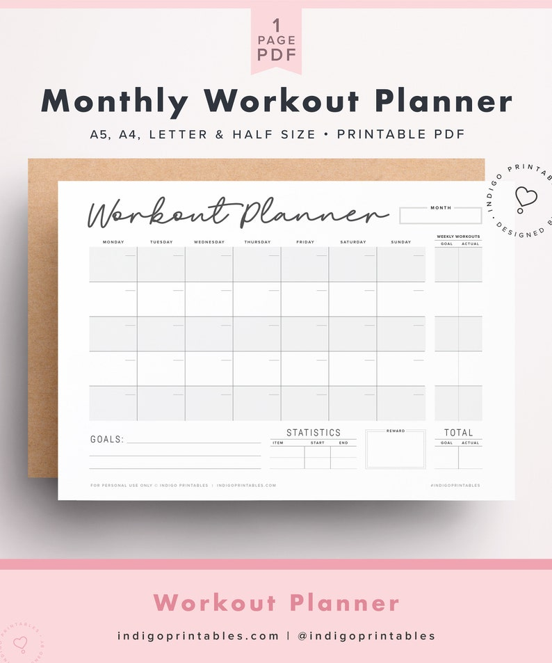 Monthly Workout Planner, Workout Calendar, Workout Tracker, Fitness  Planner, Stats Tracker, Weight Log, PRINTABLE by Indigo Printables,