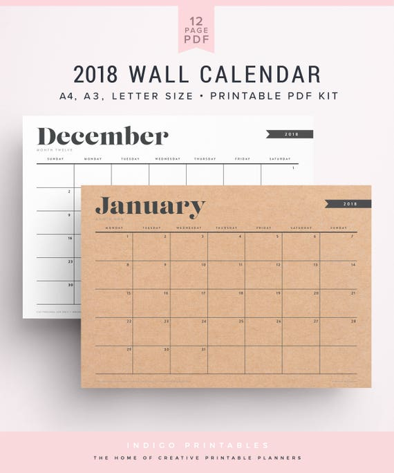 2018 Big Calendar Etsy