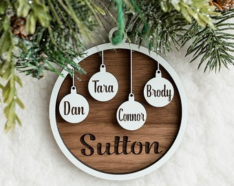 Family Name Ornament   Ornament for Every Family Member Up to 10 Names or Pets