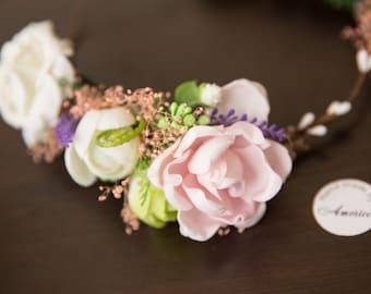 Woodland Wedding flower crown, Primera comunione, Flower halo, Boho floral crown, Wedding flower crown, Bridal  crown, Rose flower crown