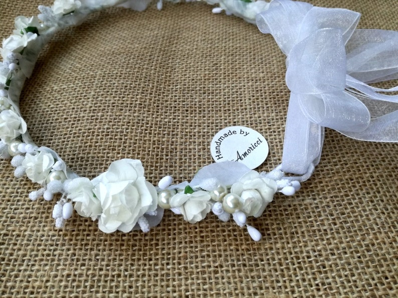 Crown Veil Flower Adornment Primera comunion Bow White fliowers First Communion Erstkommunion