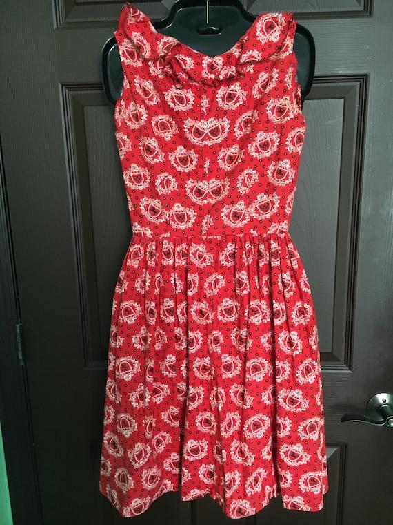 1950's red swing dress - image 2