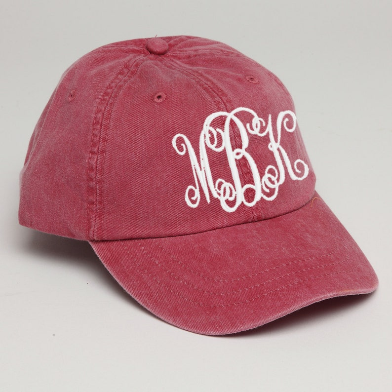 0490040429b Nautical Red Monogrammed Baseball Cap for Ladies-Pigment Dyed