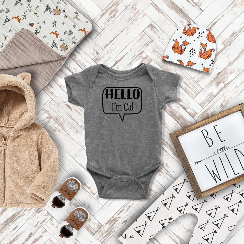 Hi I/'m insert Name Here White or Black Name Tag Rabbit Skin Body Suit for Baby  in Gray