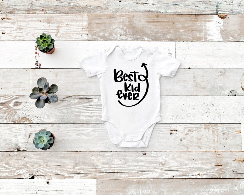 White or Black Best Kid Ever Rabbit Skin Body Suit for Baby  in Gray