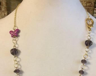 Purple Butterfly Beaded Gold Chain Necklace