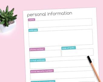Pet information form printable worksheet etsy personal information worksheet info form printable ibookread ePUb