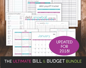The ULTIMATE bill & budget BUNDLE - Printable PDF - Total Bill and Budget Home Organization