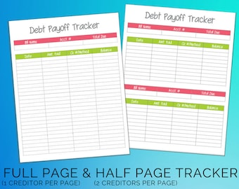 Debt Payoff Tracker Printable Worksheet Pink & Green Binder Budget