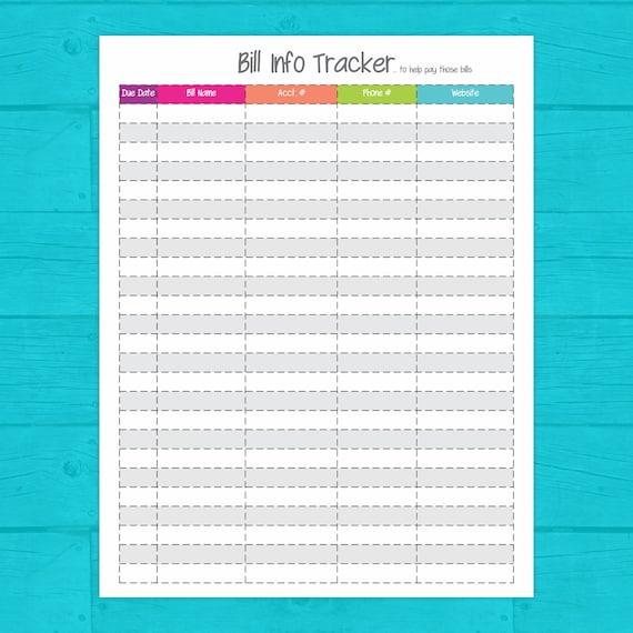 Bill Info Tracker Printable Bill Organizer