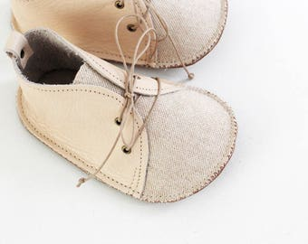 COTTON modern baby shoes in genuine soft leather and cotton and linen fabric