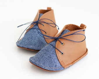 DENIM modern baby shoes in genuine soft leather and cotton