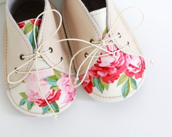 PEONIES modern baby shoes in genuine soft leather and cotton