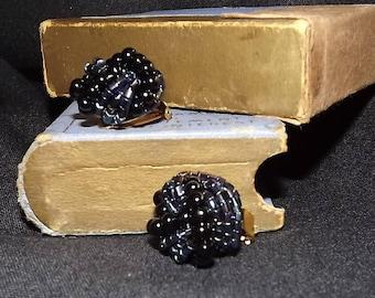 Black Coiled Bead Clip-on Earrings. Vintage Earrings. Circa 1980s.