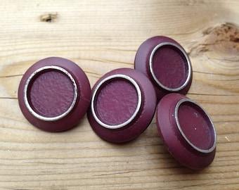 Vintage Pretty Plum Medium Buttons  Silver accent  2.5cm  Wine Colored