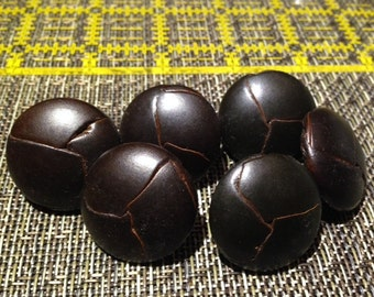 """Vintage 1 1/8"""" Dark Brown Expresso Leather Woven Buttons NEW"""
