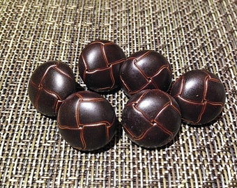 """Vintage 3/4"""" Dark Brown Expresso Woven Style Buttons NEW Retro"""