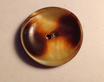 "Large Vintage Retro Button 1.25"" Spoon shaped Natural Bone coloring"