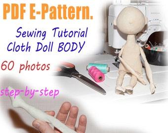 PDF cloth doll body Pattern & Tutorial, doll sewing pattern, pdf dolls pattern, cloth doll pattern, rag doll pattern, cloth doll tutorial