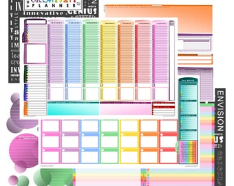 Creativity Planner  | Full-color, colorful edging, undated 12 month planner, weekly planner, creativity booster