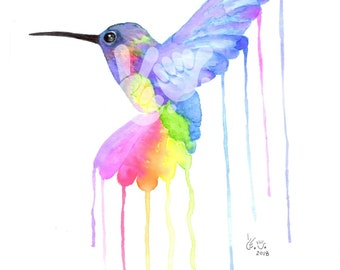 "Watercolor Rainbow HUMMINGBIRD 8.5"" x 11"" Art Print"
